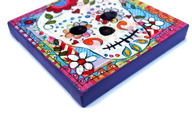 mixed media suga skulls http://schulmanart.blogspot.com/2015/07/how-art-changes-way-we-think-about-death.html
