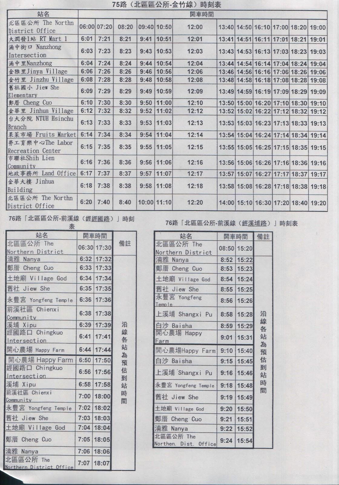 An A B C 's Guide to Hsinchu: Hsinchu City Free Bus Schedule
