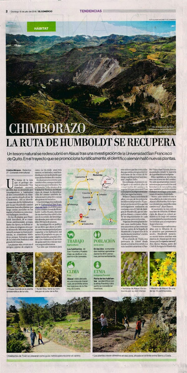 La ruta de Humboldt se recupera