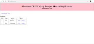 Membuat CRUD PHP dan Mysql Dengan Mudah Bagi Pemula – Menampilkan Data Dari Database