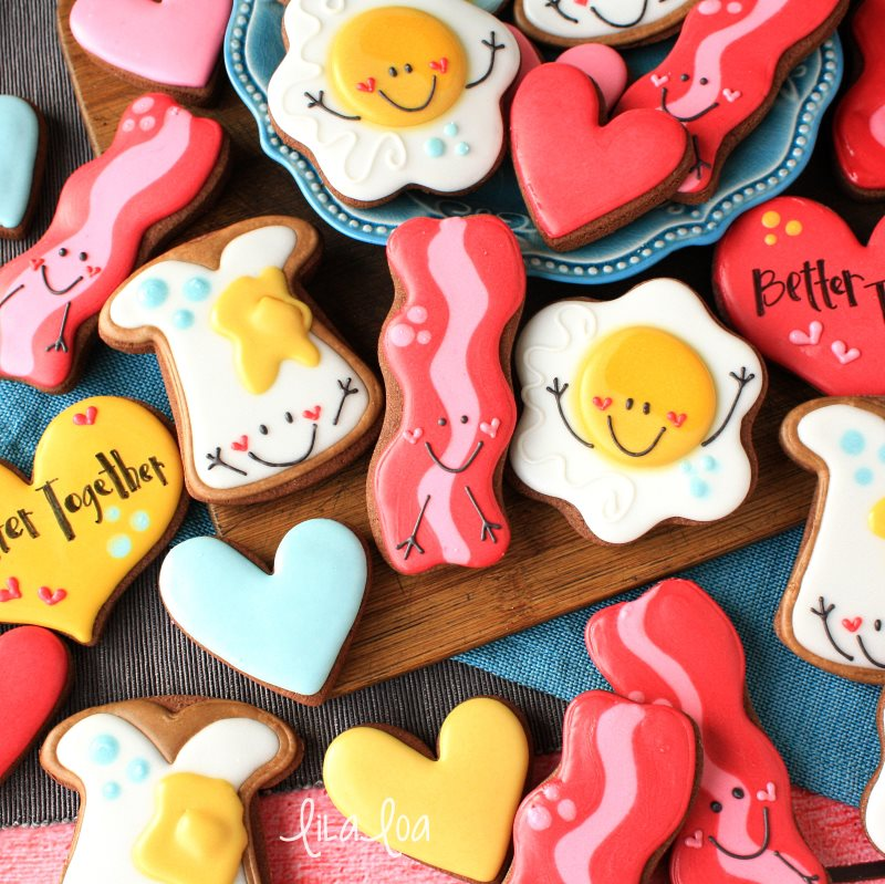 Cute and easy Valentine's Day decorated sugar cookies - toast, egg, and bacon!