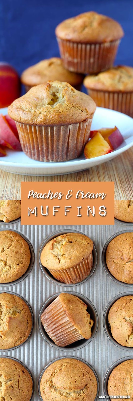 A light peaches and cream style breakfast muffin made with fresh peaches, sour cream, honey, and einkorn wheat flour. This recipe freezes well, has a good amount of protein, and makes a yummy snack or dessert!