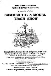 2 - Brighton Summer Toy & Model Train Show Sussex Vintage Model Railway Collectors Venue,  Knoyle Hall, Knoyle Road, Brigton, BN1 6RB, Website www.sussex-transport/svmrc, eMail sussexvintagemrc@hotmail.com Saturday 21st July 2018
