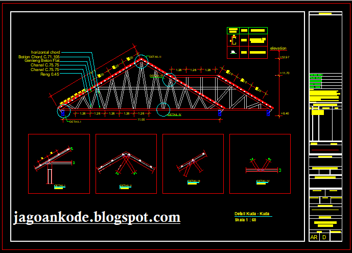 Pondasi Kanopi Baja Ringan Detail Rangka Kuda Atap Autocad File Dwg Jagoan