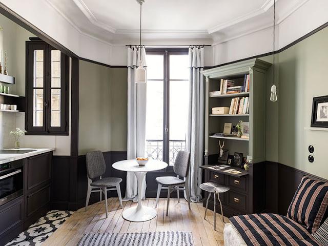 Amenajare interioară elegantă pentru o garsonieră de numai 18 m² din Paris