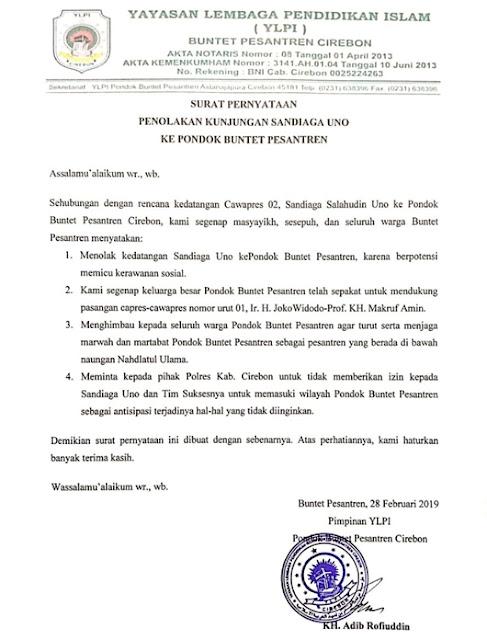 Ditolak Ponpes Pendukung Jokowi di Cirebon, Sandi Dicap Ngeyel