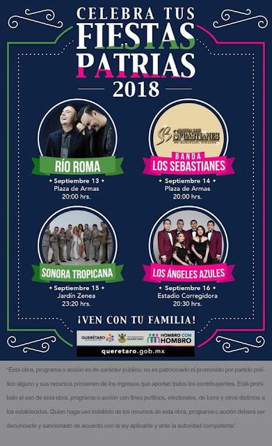 artistas fiestas patrias querétaro 2018