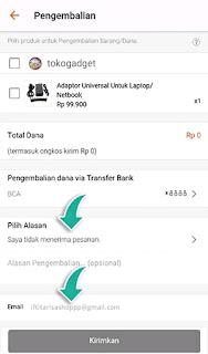 Cara mengajukan pengembalian dana atau barang di shopee.id