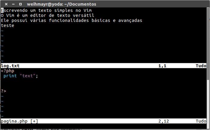 comando split no vim para abrir dois ou mais arquivos no vim