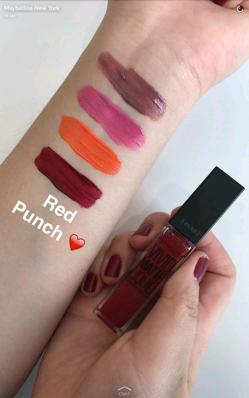 maybelline new vivid matte liquid lipstick swatches 5 red punch