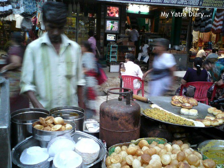 A chaat shop in Vrindavan with pani puri and tikiyas on sale