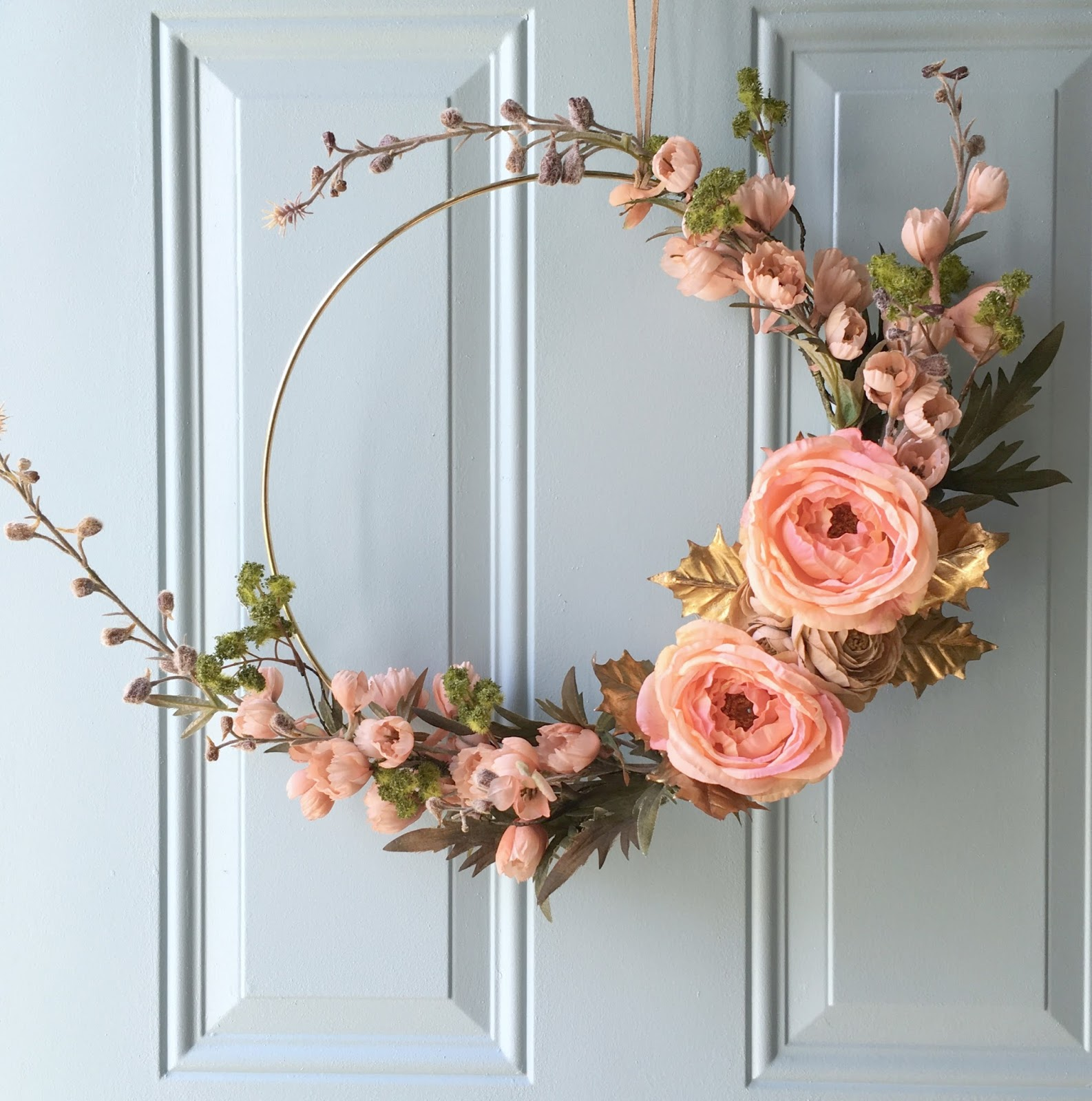 Well-liked DIY Gold Hoop Fall Inspired Wreath | Restyle It Wright HE48
