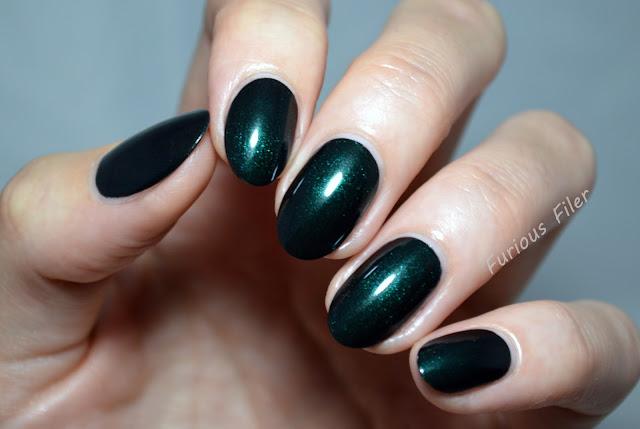 alpine green hj manicure swatch shimmer sparkle
