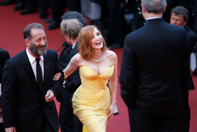Jessica Chastain stuns in a strapless yellow gown at the Cannes Film Festival 2016