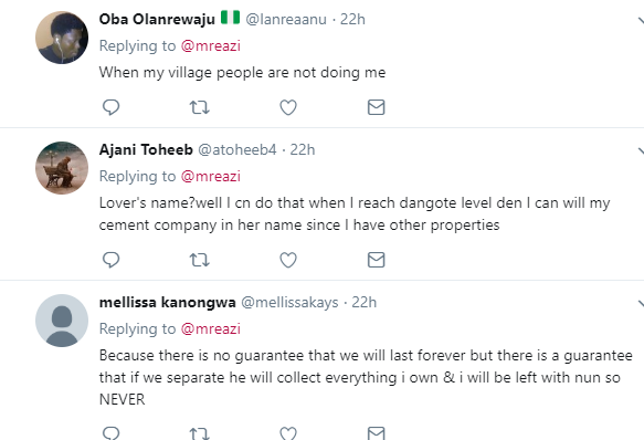 Hilarious responses from Twitter users after singer Mr Eazi asked if one can put his or her property in a lover