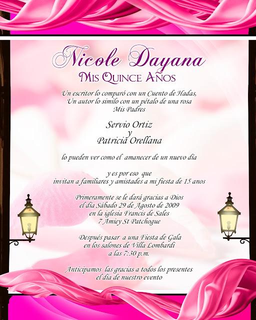 Tarjeta de Invitación Novedosa para 15 Años Rosada con Listones Rosados y Faroles