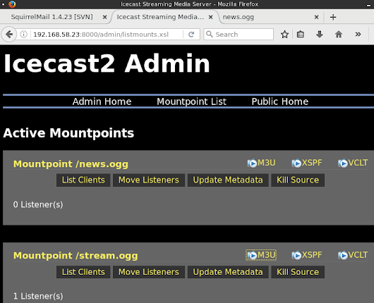configure streaming media server using icecast2