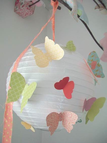 Paper lamp decorated with butterflies 4
