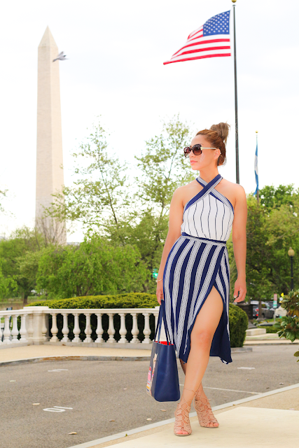 Navy Blue striped Dress