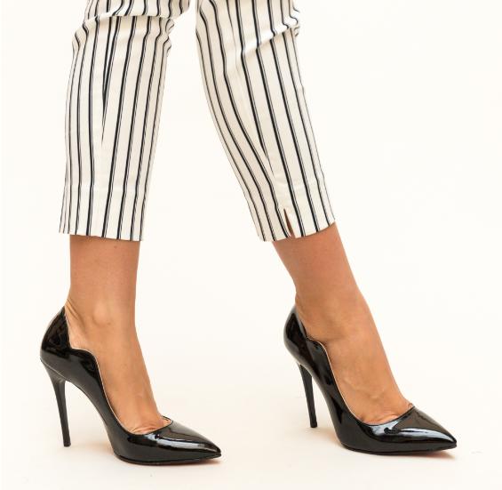 Pantofi de zi negri cu toc inalt lacuiti moderni si ieftini