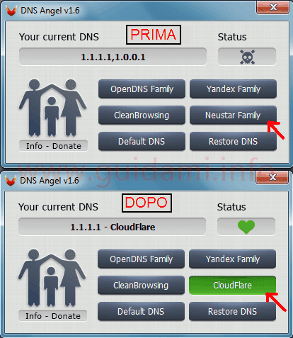 Interfaccia programma DNS Angel prima e dopo le modifiche