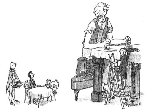 Dibujo de El gran gigante bonachón desayunando con la reina, de Roald Dahl y Quentin Blake - Cine de Escritor