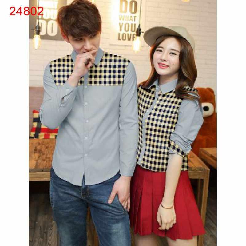 Jual Kemeja Couple Kotaka Grey - 24802