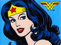 Wonder Woman comic blue black hair gold tiara red star W symbol classic vintage perfect