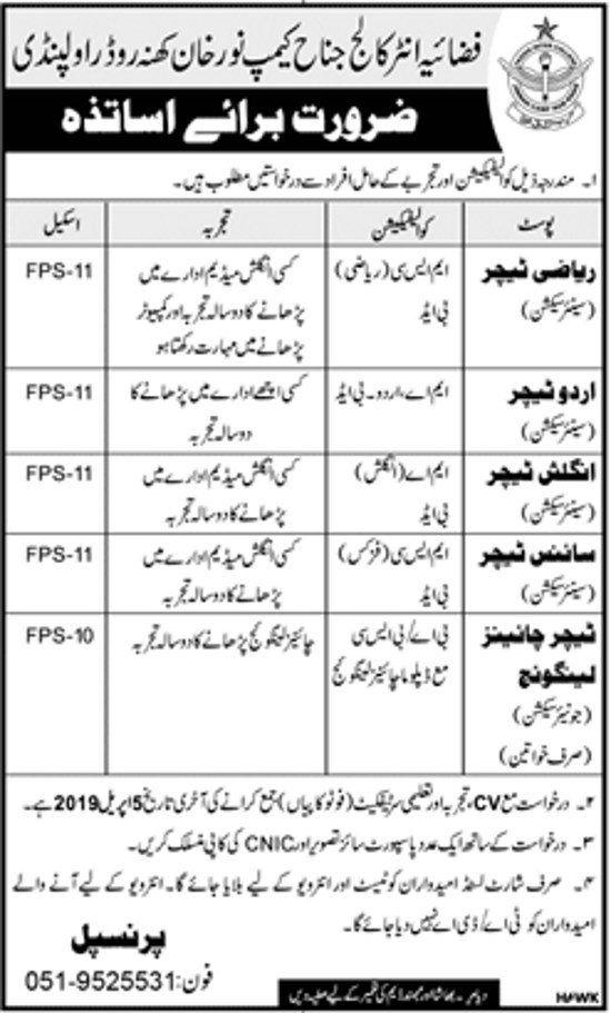 PAF Educator Jobs 2019 - PAF teaching Jobs For PAF inter College