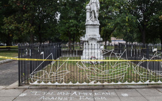 Graffiti targeting Columbus Day found at two South Philly sites