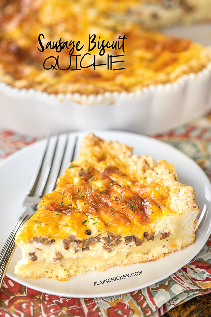Sausage Biscuit Quiche - our FAVORITE quiche! The crust is made out of homemade biscuit dough. It is like a big open faced sausage, egg and cheese biscuit. SO good!!! Self-Rising flour, butter, buttermilk, sausage, cheese, eggs, half-and-half and sour cream. Great for breakfast, lunch or dinner. Everyone LOVES this yummy casserole!!! #quiche #breakfast #biscuit
