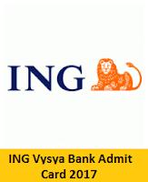ING Vysya Bank Admit Card 2017