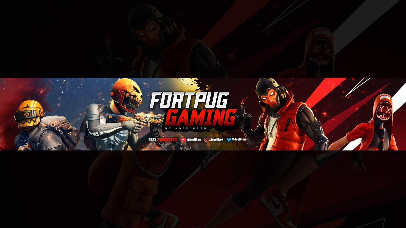 FortPug YouTube Gaming Banner Art Free Download PSD Template AdeelDrew