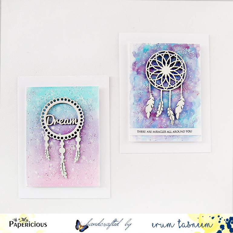 Papericious Chipboard Dreamcatcher Watercolour cards by Erum Tasneem | @pr0digy0