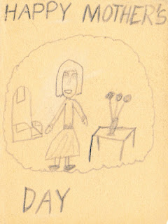 Front of hand-drawn card, Happy Mother's Day.