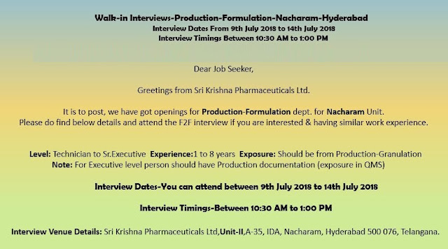 Sri Krishna Pharmaceuticals Ltd  Walk In Interview For Multiple Positions at 9  to 14 July