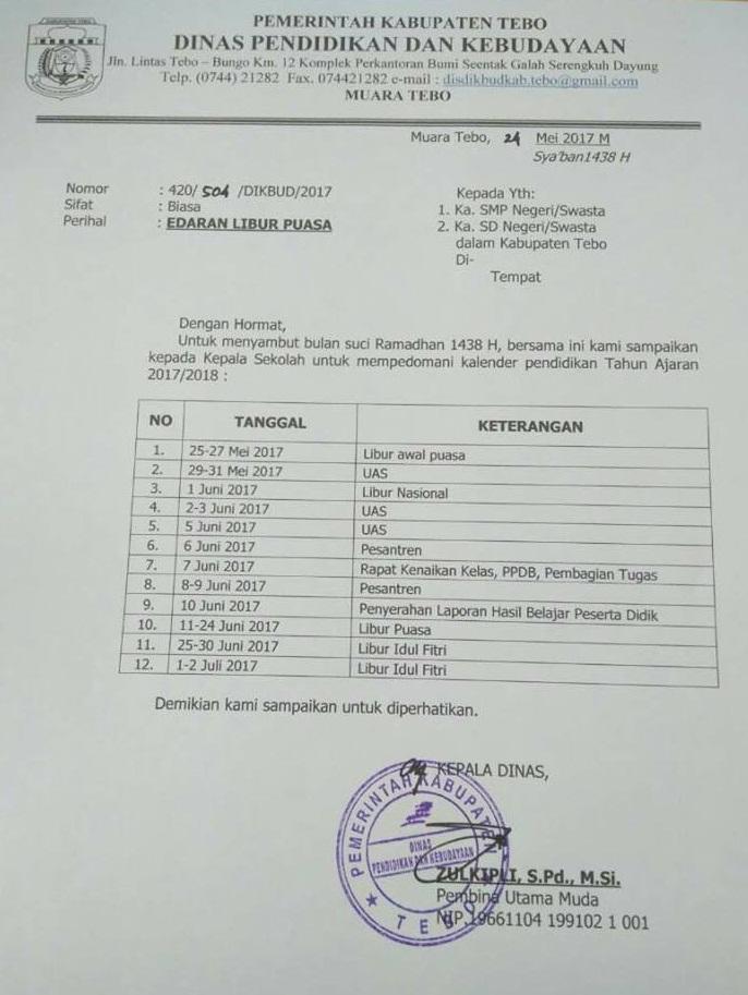 Surat Edaran Libur Puasa Tahun 2017 Dinas Dikbud Kabupaten Tebo