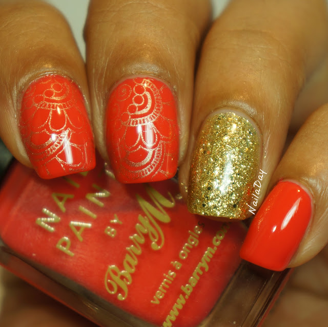 NailaDay: Barry M Coral and China Glaze Blonde Bombshell Skittlette