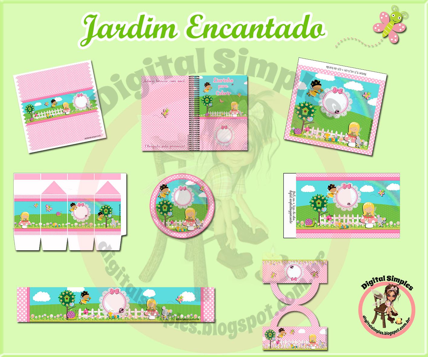 Kit Personalizados Jardim Encantado Para Imprimir Convites