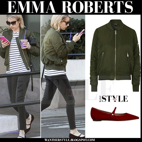 Emma Roberts In Green Bomber Jacket From Topshop In Hollywood On