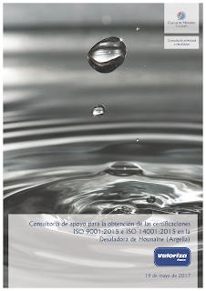 Portada del contrato por el que Cuevas y Montoto Consultores ayudará a Valoriza Agua a implantar las nuevas normas ISO 9001 e ISO 14001 en una desaladora situada en Argelia.