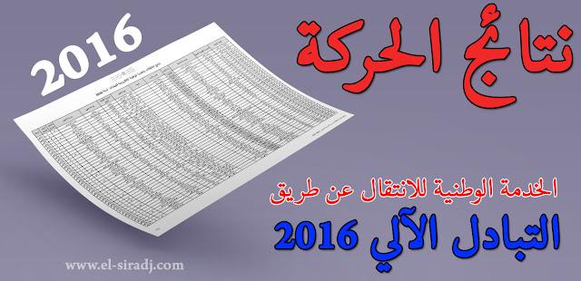 نتائج االانتقالات بالخدمة الوطنية الإكترونية للتبادلات لسنة 2016