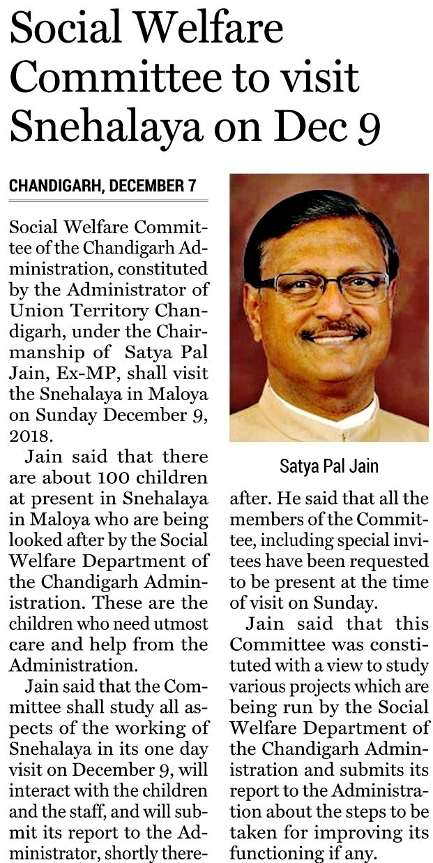 Social Welfare Committee to visit Shehalaya on Dec 9