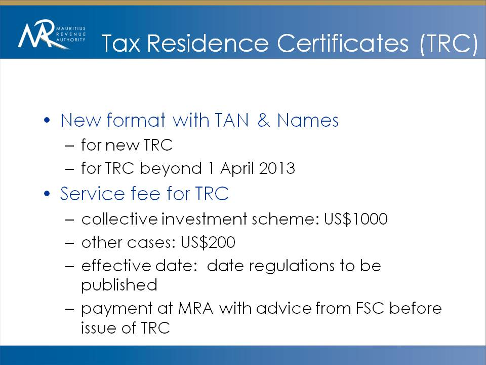Amar Mauritius New Service Fees For Tax Residence Certificate