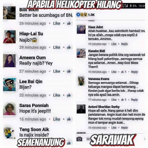 Dua Reaksi Berbeza Apabila Helikopter Hilang Tanpa Dikesan #Pray4MissingHeli