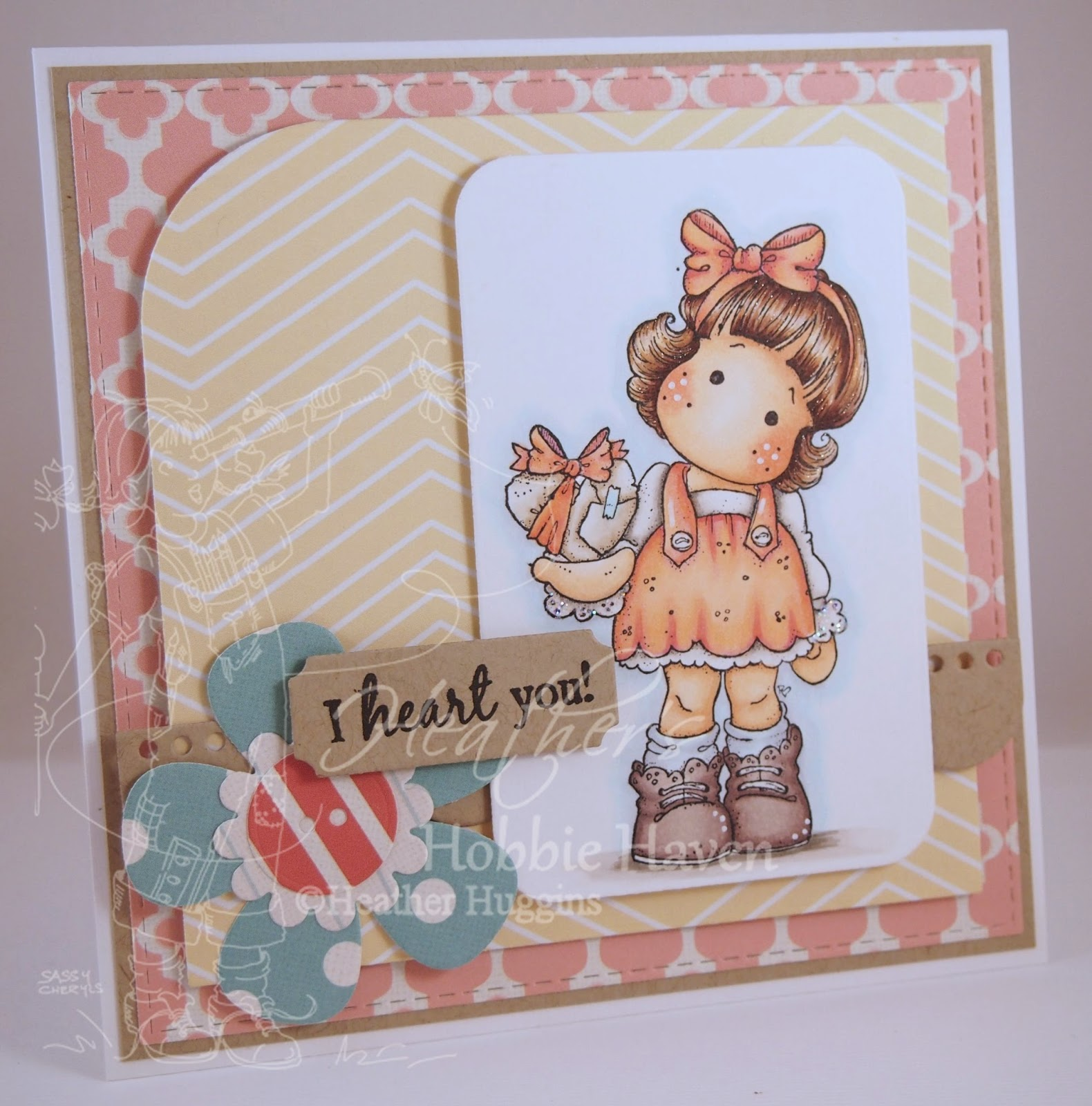 Heather's Hobbie Haven - Tilda with Wrapped Heart Card Kit