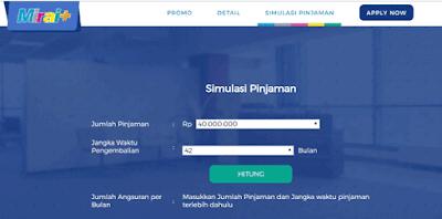 simulasi pinjaman, tabel angsuran serta tabel denda dari mirai+ bank bnp
