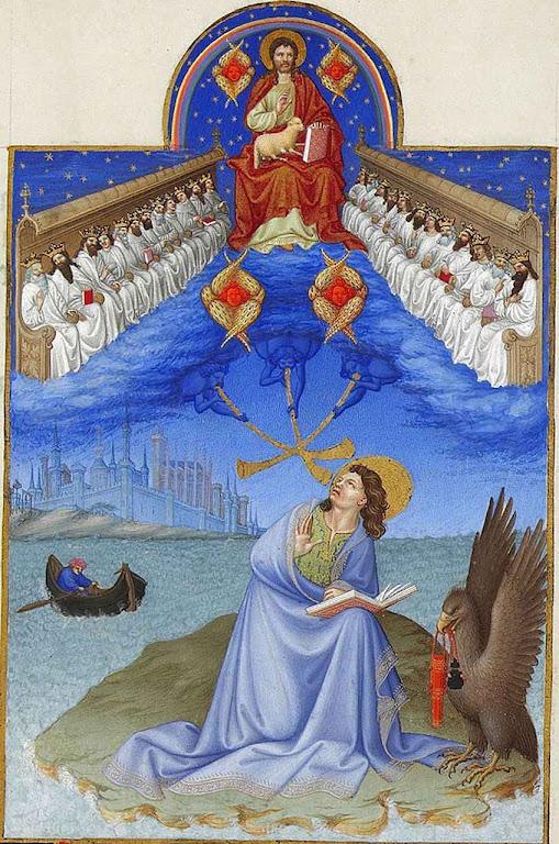 Deus com os anciões.e São João e Patmos, Très Riches Heures du duc de Berry, Musée Condé, Chantilly.