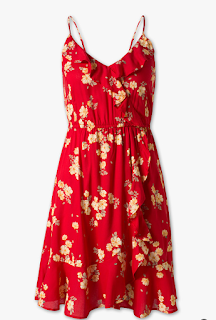 robe rouge fleuri c&a