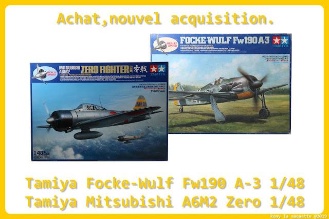 Tamiya Fw 190A-3 et Mitsubishi A6M2 Zero au 1/48
